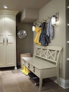 I simply adore these types of photographs - a big heads up for posting - Sarah Richardson Design - Sarahs House - Mudroom/Laundry Room Sarah Richardson, Carpet Remnants, Mudroom Laundry Room, Mudroom Cabinets, Ikea Cabinets, House Seasons, Built In Bench, Small Bench, Door Storage