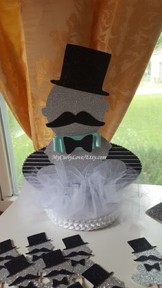 Little Man Centerpiece/Little Man Baby Shower by MyCurlyLove