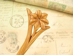 Hand Carved Peach Wood Hair Stick  Flower by epstone on Etsy, $8.90