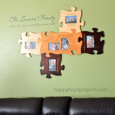 Wall Art - Personal Creations Puzzle of Life - Adrianne's version starts with the Wedding Kit - Order personalized engraved wood puzzle pieces; add to as needed - see at www.happyhourprojects.com