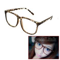 Oversized Tortoise Shell Retro Nerd Geek Vintage Clear Lens Plain Glasses