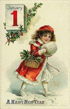 Vintage Happy New Year Card Postcard Vintage Happy New Year, Happy New Year Cards, New Year Greeting Cards, New Year Greetings, Vintage Greeting Cards, Vintage Christmas Cards, Christmas Images, Vintage Holiday, Christmas Art