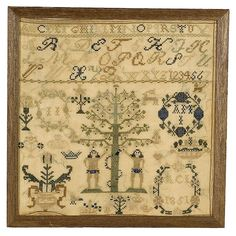 bidsquare | Dated 1851 Adam and Eve Sampler,
