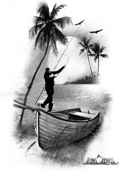 Pescador lanzando el anzuelo. Se muestra palmeras, pájaros volando y el sol de fondo que se refleja en el agua.Tattoo ideal para los apasionados de esta práctica. #santcugat #barcelona #deysitattoostudio www.deysitattoo.com citasdeysitattoo@gmail.com tlf: 639 327 919 #ideatattoo #ideastatuajes #tattoo #fishing #deysitattoo #design @deysitattoo