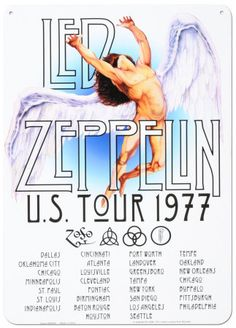 famous rock concert posters | Classic poster from the famous Led Zepp tour of the USA in 1977.
