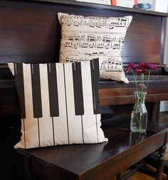 Piano Keys Accent Throw Pillows - Musical Instrument Square Pillows - RoomCraft