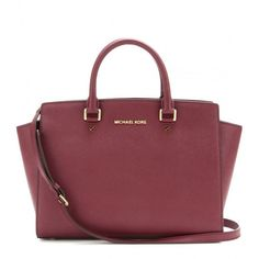 MICHAEL Michael Kors Selma Leather Tote ($275) ❤ liked on Polyvore featuring bags, handbags, tote bags, red, genuine leather tote bag, michael michael kors handbags, red purse, red tote bag and red handbags
