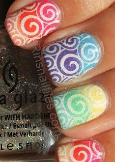 Skittle Gradient, Stamping, colors nails | See more at http://www.nailsss.com