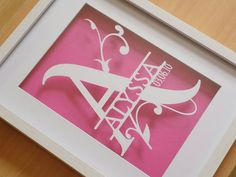 Items similar to Your name papercut with date of birth in a shadow box frame on Etsy Paper Gift Box, Paper Gifts, Diy Paper, Paper Art, Diy Shadow Box, Shadow Box Frames, Vinyl On Glass, Diy Frame, Vinyl Projects