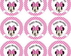 Disney Minnie  Mouse pink  Birthday Party Water Bottle Labels
