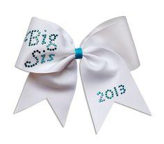 Cheerleading Hair Bow with Big Sis Rhinestone Crystals on 3 inch Ribbon