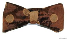 Copper Embroidered Circles Reversible Bow-tie hand-made by J. Thomson out of up-cycled fabric from #ResourceExchange.