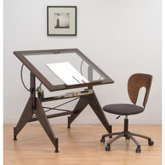 Studio Designs Aries Glass Top Drafting Table   Sonoma Brown/Clear Glass  13310   With The Studio Designs Aries Glass Top Drafting Table   Sonoma  Brown/Clear ...