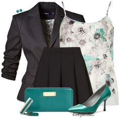 Love the accent color of teal! I wouldn't wear the flared mini skirt, but otherwise this is a cute set!