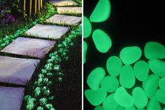 The Glow in the Dark Pebbles is a cool way to decorate your lawn or backyard. Glow Stones, Cool Glow, Garden Accessories, Garden Paths, Stepping Stones, Outdoor Gardens, The Darkest, Home And Garden, Backyard