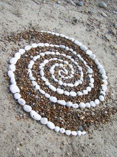 spiral of white stones