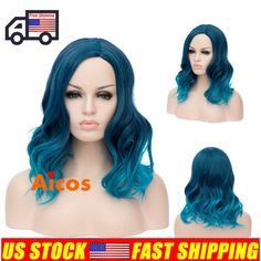 Lolita Heat Resistant Teal Blue Ombre Curly Women Cosplay Party Wig +Cap #AICOS #FullWig