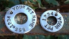 STaMPeD uPCyCLeD WaSHeR PeT CoLLaR iD TaG  by JuLieSJuNQueTiQue, $7.00