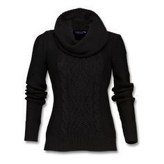 Chunky-knit sweater in soft, cotton/acrylic blend with broad cable... ($78) ❤ liked on Polyvore