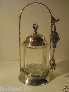 Victorian Silver Plate Pickle Caster by Hartford Silver Plate Co Signed 'D