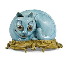Chat en porceleine turquoise - Kangxi (1662-1722), sur bronze doré Louis XV rocaille