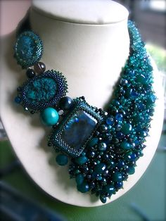 Green Beauty  Beadwork Necklace by ARTSTUDIO51 on Etsy. , via Etsy.