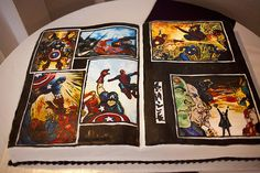 comic book grooms cake dj_emily_paducah_wedding240cake by Brittny Miller with Artisan Kitchen in Paducah, Ky