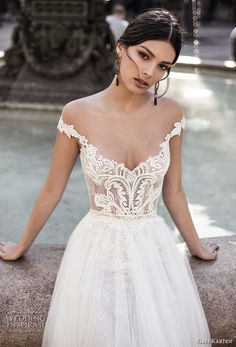 gali karten 2017 bridal off the shoulder v neck heavily embellished bodice tulle skirt romantic a  line wedding dress sweep train (1) zv  -- Gali Karten 2017 Wedding Dresses