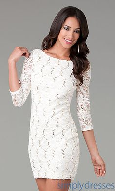 Short Three Quarter Sleeved Lace Dress at SimplyDresses.com - I'm starting to like LACE. Everyone knows I have never liked lace!!
