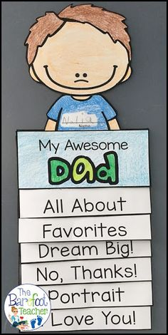 This Father's Day Flip Book Craftivity is fun, easy, and will go right along with the other cards, gifts ideas, and crafts that you have planned for your kids . Diy Father's Day Gifts, Father's Day Diy, Easy Gifts, Father's Day Activities, Holiday Activities, Spring Activities, Ecole Art, Kindergarten Crafts, Preschool Ideas