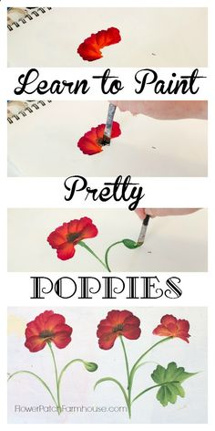 Learn How to Paint a Pretty Poppy, one simple stroke at a time. Come paint with me! FlowerPatchFarmho...