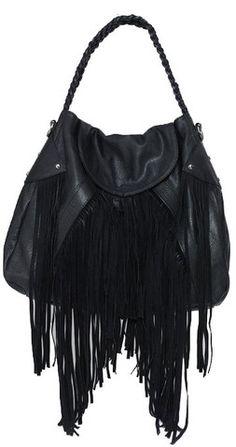 fed13a5af0 Cri de Coeur Cullen Faux Leather Fringe Handbag in Black Black Fringe Bag