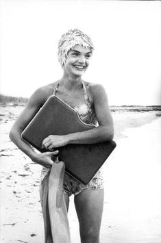 Jackie Kennedy on the beach in Hyannis Port, August 1960.