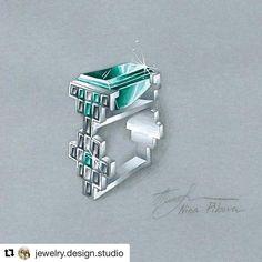 #Repost @jewelry.design.studio (@get_repost) ・・・ Geometric ring with emeralds and black&white diamonds