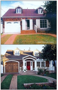 Cape Cod Makeover! Excellent Example from Better Homes and Gardens of Curb Appeal from the Stylish Garage Door with Arch Mirrored above the Portico, Splashy Red Front Door & Addition of French Doors Opening to the New Brick Porch ~ Welcome HOME!  #bethandsusie.com #BetterHomesAndGardens #BHG.com  via BHG.com