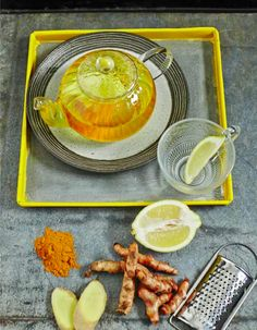 Swap caffeine for Pep Up Turmeric Tea with ginger, turmeric, lemon and cayenne. It's immune-boosting and metabolism-boosting as well.
