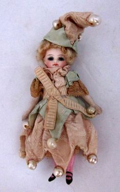 """4\"""" French Mignonette All Bisque Jester Girl"""