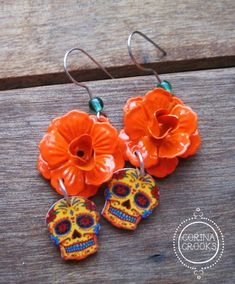 Dia de los Muertos jewelry, Day of the Dead Earrings, orange rose, Calavera, Vintage Tattoo, Mexican Jewelry, skull earrings, Book of life