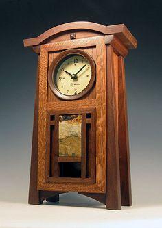 Arts & Crafts Clock Craftsman Clocks, Craftsman Furniture, Craftsman Style, Craftsman Decor, Craftsman Homes, Craftsman Bungalows, Jugendstil Design, Mission Furniture, Clock Art
