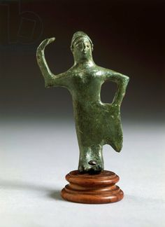 Etruscan bronze statutte of a female dancer. C.750BC Florence archaeological museum