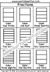 Coloring Fractions – Halves, Thirds, Fourths, Fifths, Sixths, Sevenths, Eights – Two Worksheets