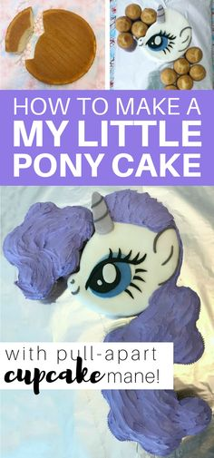 How to make a My Little Pony cake with pull-apart cupcake mane: easy step-by-step tutorial Pull Apart Cupcake Cake, Pull Apart Cake, Cupcake Cakes, My Little Pony Cake, My Little Pony Birthday Party, Birthday Ideas, 5th Birthday, Birthday Cakes, Free Printable