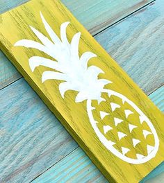 "pineapple painted sign pineapple wall hanging beach house decor beach cottage decor rustic beach house decor coastal decor nautical decor. Pineapples make my heart happy! Overview - pineapple painting - 9"" X 4"" - All pieces are handmade...no two are the same. Details - created from reclaimed wood - sealed with a semi-gloss finish - sawtooth back for easy hanging."