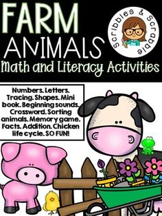 Little Learners get SO excited when I announce the theme of the week will be FARM ANIMALS! You can laminate each sheet and use it multiple times or just print each packet for your child to complete and add it to their notebook or binder. Mini Book - Good Morning Everyone! (animal book) Beginning Sounds Tracing Shapes Tracing Lines and numbers 1-9 Where do they live? Memory Game Number Word Recognition Sorting Animals, Sea animal or Farm animal? Rhyming Matching Product to Animal and More! Tracing Lines, Tracing Shapes, Reading Resources, Teacher Resources, Animals Sea, Farm Animals, Math Literacy, Little Learners, Literacy Activities