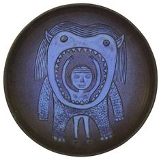 Scheier Studio Pottery Nude In the Mouth Of A Monster Wall Plaque Charger