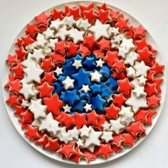 star cookies arranged as captain america's shield