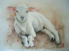 View Marie-Helene Stokkink's Artwork on Saatchi Art. Find art for sale at great prices from artists including Paintings, Photography, Sculpture, and Prints by Top Emerging Artists like Marie-Helene Stokkink. Lion And Lamb, Sheep And Lamb, Sheep Paintings, Animal Paintings, Barnyard Animals, Cute Animals, Watercolor Animals, Watercolor Art, Sheep Art