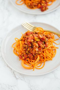Chunky Lentil Bolognese with Spiralized Sweet Potatoes