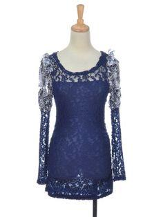Anna-Kaci S/M Fit Dark Blue Long Sleeve Formal « Dress Adds Everyday