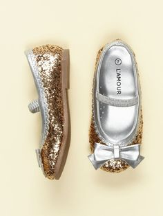 L'Amour & Angel Glitter Bow Flat